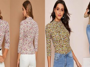Floral Print Mock-Neck Fitted Tee