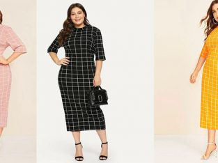 Plus Mock-Neck Grid Dress