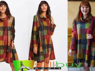 Funnel Neck Checked Swing Dress